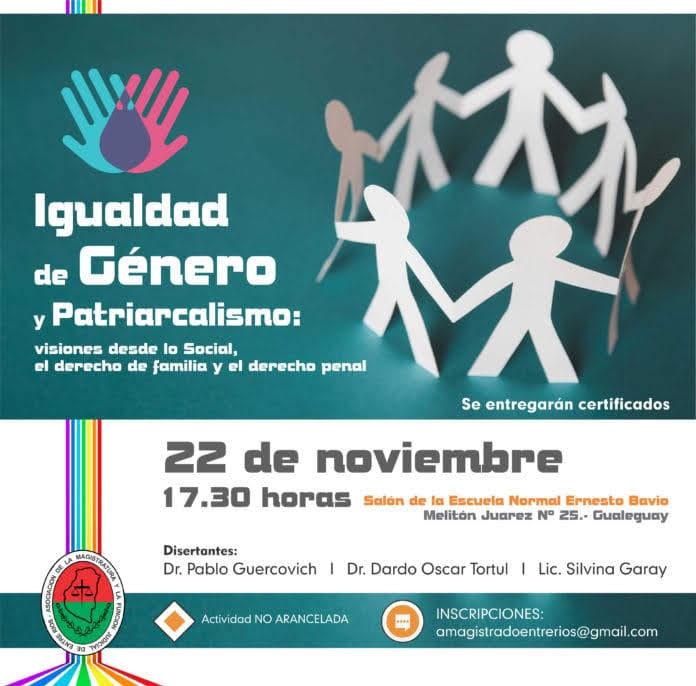 En Gualeguay se realizará una Jornada  sobre Igualdad de Género y Patriarcalismo