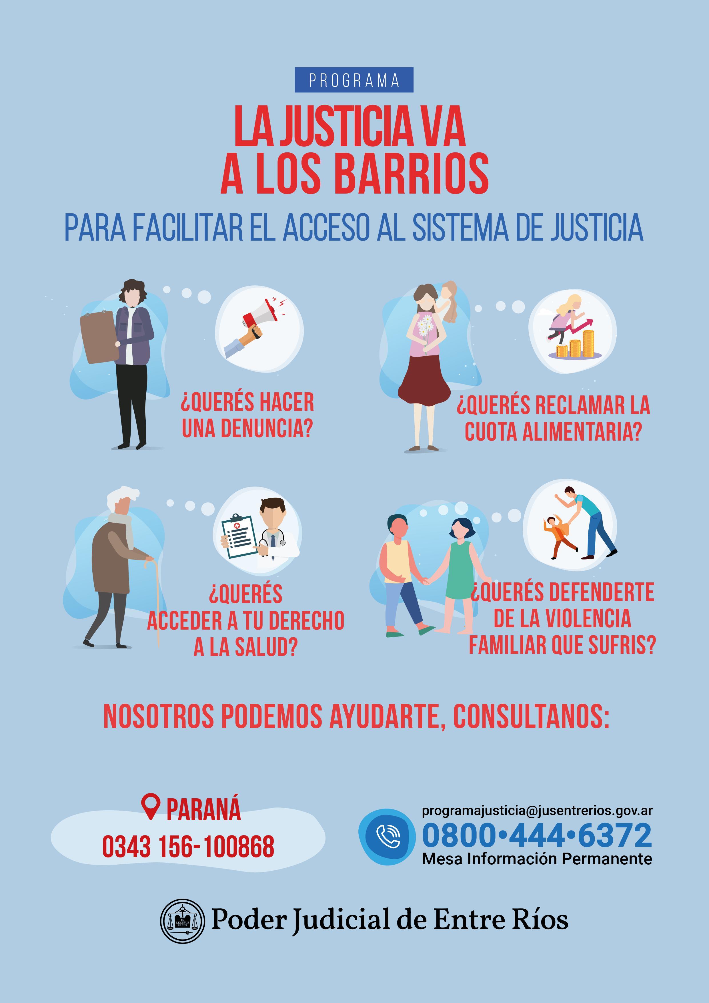 """Programa """"La Justicia va los Barrios"""": Este viernes atenderá a vecinos en barrio Yatay, de Paraná."""